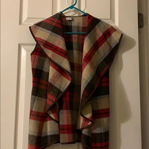 Jackets & Blazers - Plaid open vest with pockets